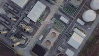 Aerial top view shot of power plants.