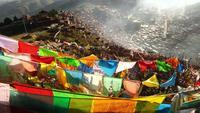 Vista superior del monasterio budista Larung Gar, Tíbet, China