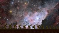 Nebulosa retrocediendo en el cielo nocturno