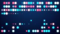 Animación de círculos de luz multicolores en una pantalla completa