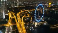 Hyper lapse of Singapore Flyer at night