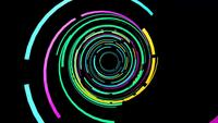 Gaan door een tunnel van kleurrijke licht wervelingen