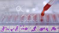 Arts of wetenschapper testen in laboratorium met leukemiecellen op geneeskunde achtergrond.