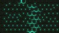 Parede de hexágonos pretos com um brilho verde