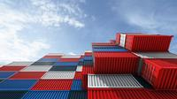 Flying above stack of containers, Cargo cargo ship for import export logistics