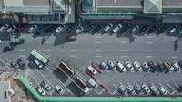 Aerial view parking zone off super highway