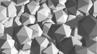 Explosion of platonic pentagons in gray color background, 4k