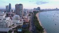 Vista aérea da praia de Pattaya, Chonburi, leste da Tailândia