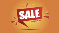 Venda de animação é fundo de banner pop-up para desconto de promoção de até cinquenta por cento.