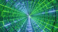 Glowing Neon Lines Glass Tunnel