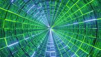 Gloeiende neonlijnen glazen tunnel