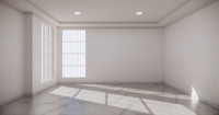 White Empty Room with Sun Light Windows Animation