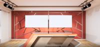 Alumínio de design de sala de estúdio guarnição de ouro na parede vermelha