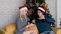 Couple Drinking Wine by The Christmas Tree