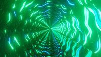 Lumières au néon vertes et bleues abstraites à rotation rapide