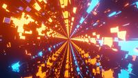 Tunnel with blue and orange glowing neon pattern