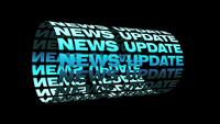 NEWS UPDATE blue text 3D cylinder kinetic looping
