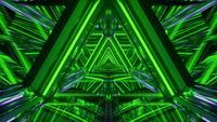 Leuchtender grüner Neonreflexionstunnelkorridorraum