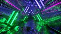 Neon triangle tunnel with cool reflective texture
