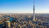 Tokio-Stadt während des Sonnenaufgangs in Tokio, Japan