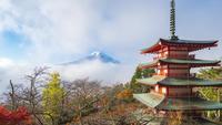 Montera Fuji med Chureito-pagoden på soluppgången i Fujiyoshida, Japan