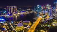 Marina Bay in Singapore At Night