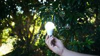 Main tenant l'ampoule avec des sources d'énergie d'icônes.