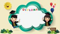 Kids Diploma certificate background.