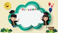 Barn diplom certifikat bakgrund.
