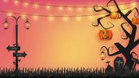 Halloween Background With a Paper Craft Animation