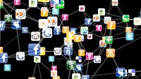 3D Animation Showing A Network Of Social Media Icons