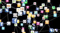 3D-animatie met een netwerk van social media iconen
