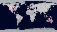 Alarma de advertencia de visualización en pantalla en el mapa mundial.