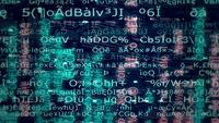 2D-animatie van streaming tekst en gegevens