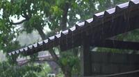 Pluie tombant sur un vieux toit
