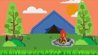 Llama de fuego en el campamento de verano