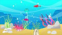 Le poulpe sous la mer