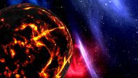 Brandende planeet in de ruimte