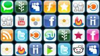 Une grille d'icônes de médias sociaux