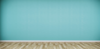 Een grote lege ruimte met een houten vloer en een groene muur
