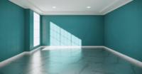 Leerer Raum mit Minzwänden und Granitfliesenboden