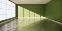 Leerer Raum mit einem inneren grünen Wandhintergrund