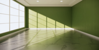 Empty Room with An Interior Green Wall Background