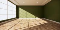 Rauminnenarchitektur mit grüner Wand und Holzboden