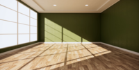 Room Interior Design with Green Wall and Wooden Floor