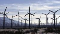 Ein Windpark unter einem bewölkten Himmel