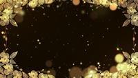 Brillos dorados con marco de borde de flores doradas