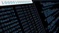 Dados de exibição de tela digital e código binário