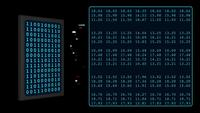 3D Smartphone display binary code on digital screen