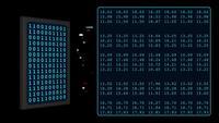Smartphone 3D exibe código binário na tela digital